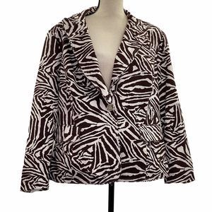 Focus 2000 Brown White Zebra Blazer Jacket 18W